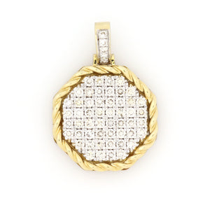 10K Yellow Gold Octagonal Tag Pendant 1.1 Ctw