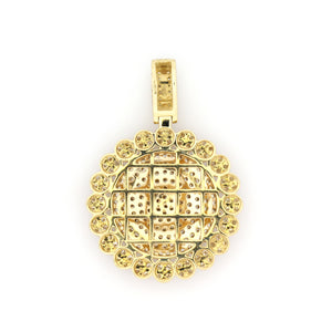 14K Yellow Gold Medallion Pendant 2.5 Ctw