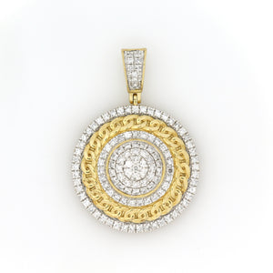 10K Yellow Gold Cuban Medallion Pendant 1.5 Ctw