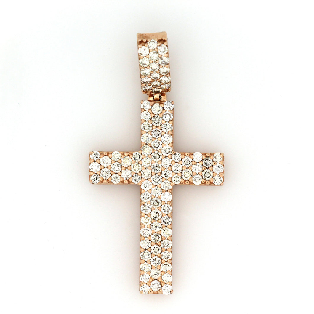 10K Rose Gold Cross Pendant 3 Ctw