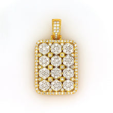 Load image into Gallery viewer, 10K Yellow Gold Cluster Dog Tag Pendant 3 Ctw