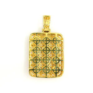 10K Yellow Gold Cluster Dog Tag Pendant 3 Ctw