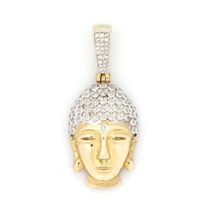 10K Yellow Gold Buddha Pendant 0.55 Ctw