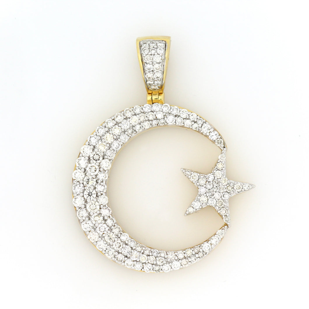 10K Yellow Gold Crescent Moon And Star Pendant 2.85 Ctw