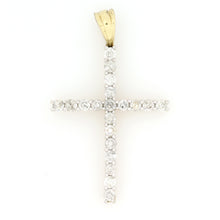 Load image into Gallery viewer, 14K Yellow Gold Single Row Cross Pendant 1.5 Ctw