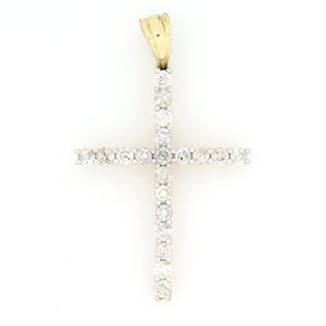 14K Yellow Gold Single Row Cross Pendant 1.5 Ctw