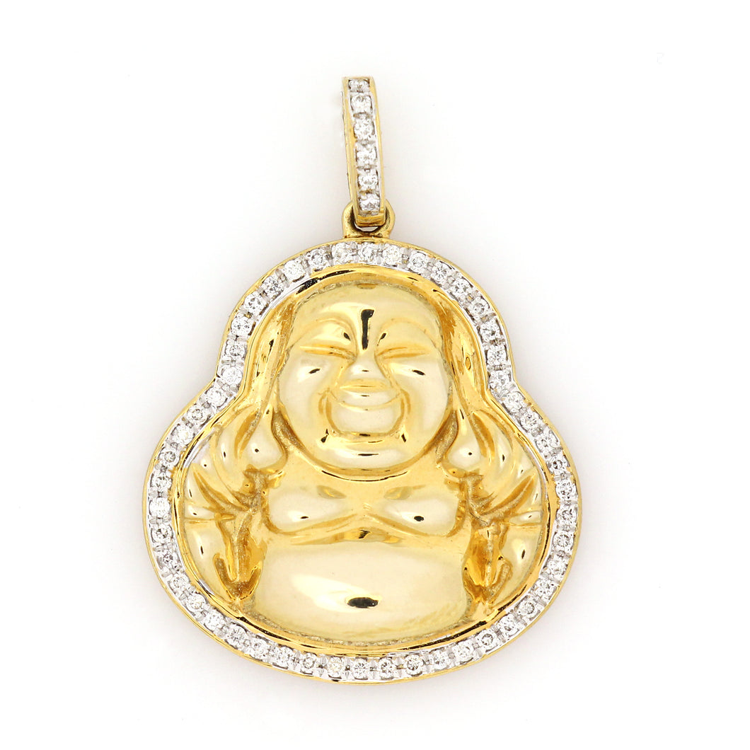14K Yellow Gold Buddha Pendant 0.3 Ctw