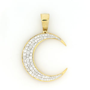 10K Yellow Gold Crescent Moon Pendant 1.75 Ctw