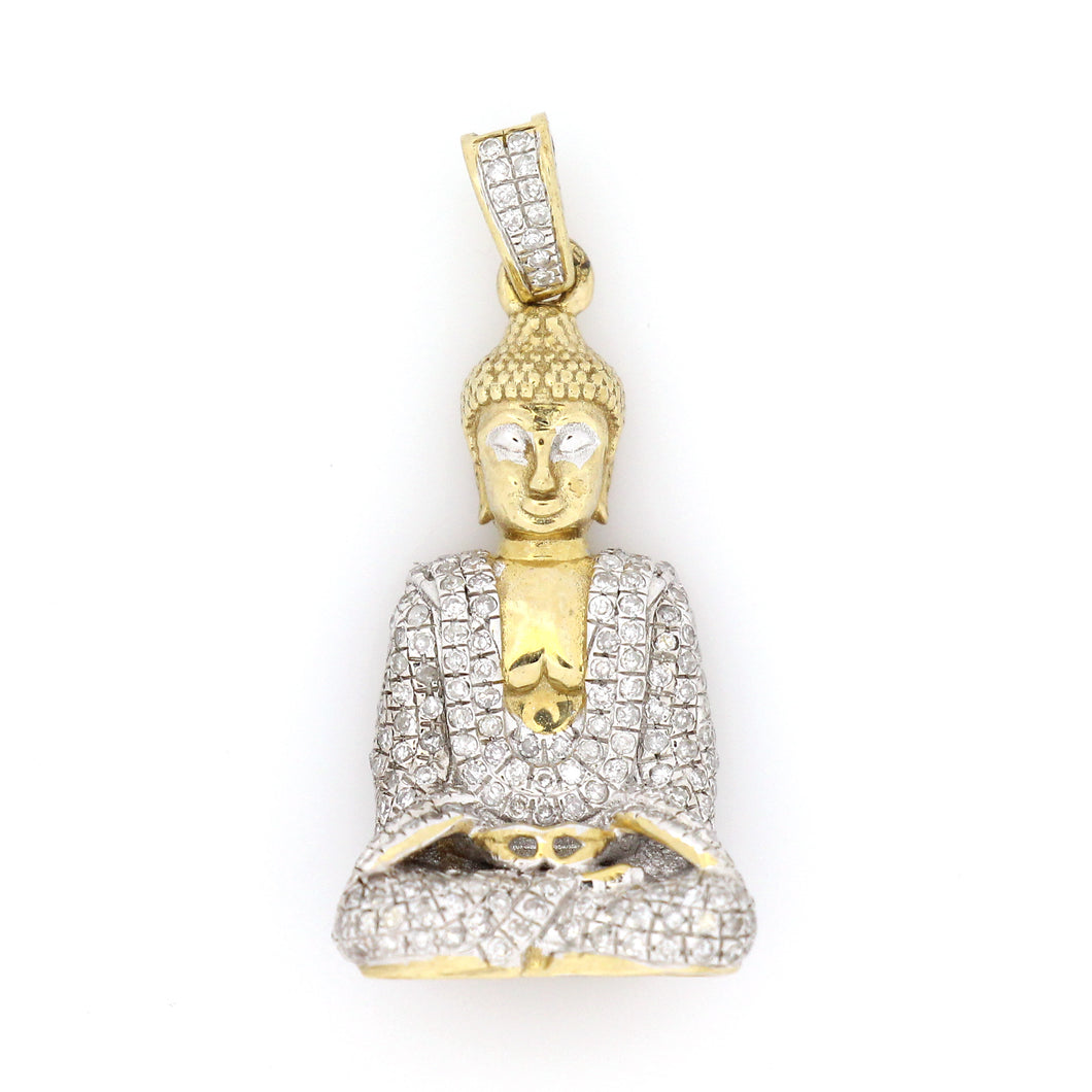 10K Yellow Gold Buddha Pendant 0.85 Ctw