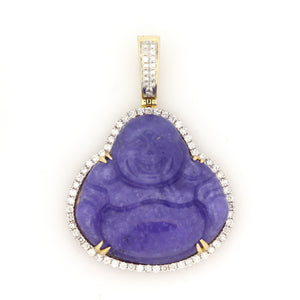 14K Yellow Gold Purple Jade Buddha Pendant 1 Ctw