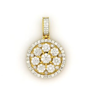 14K Yellow Gold Cluster 3D Medallion Pendant 2.65 Ctw