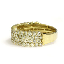 Load image into Gallery viewer, 10K Yellow Gold 4 Row Ring 2.45 Ctw