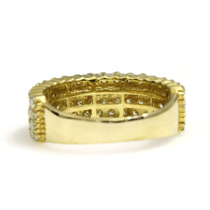 10K Yellow Gold 4 Row Ring 2.45 Ctw
