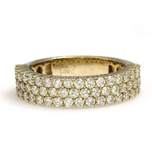 Load image into Gallery viewer, 10K Yellow Gold 3 Row Ring 1.95 Ctw