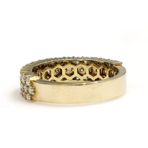 10K Yellow Gold 3 Row Ring 1.95 Ctw
