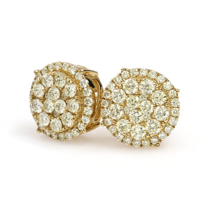 10K Yellow Gold Round Cluster Earrings 1.95 Ctw