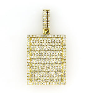 14K Yellow Gold Jumbo Dog Tag Pendant 4 Ctw