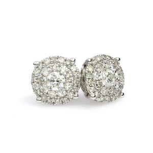 14K White Gold Round Cluster Earrings 1 Ctw