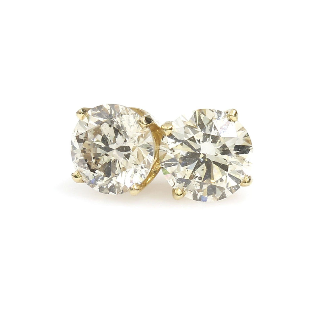 14K Yellow Gold Solitaire Earrings 1.84 Ctw