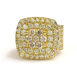 10K Yellow Gold Jumbo Square Pave Ring 6.25 Ctw