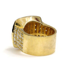 Load image into Gallery viewer, 10K Yellow Gold Jumbo Square Pave Ring 6.25 Ctw