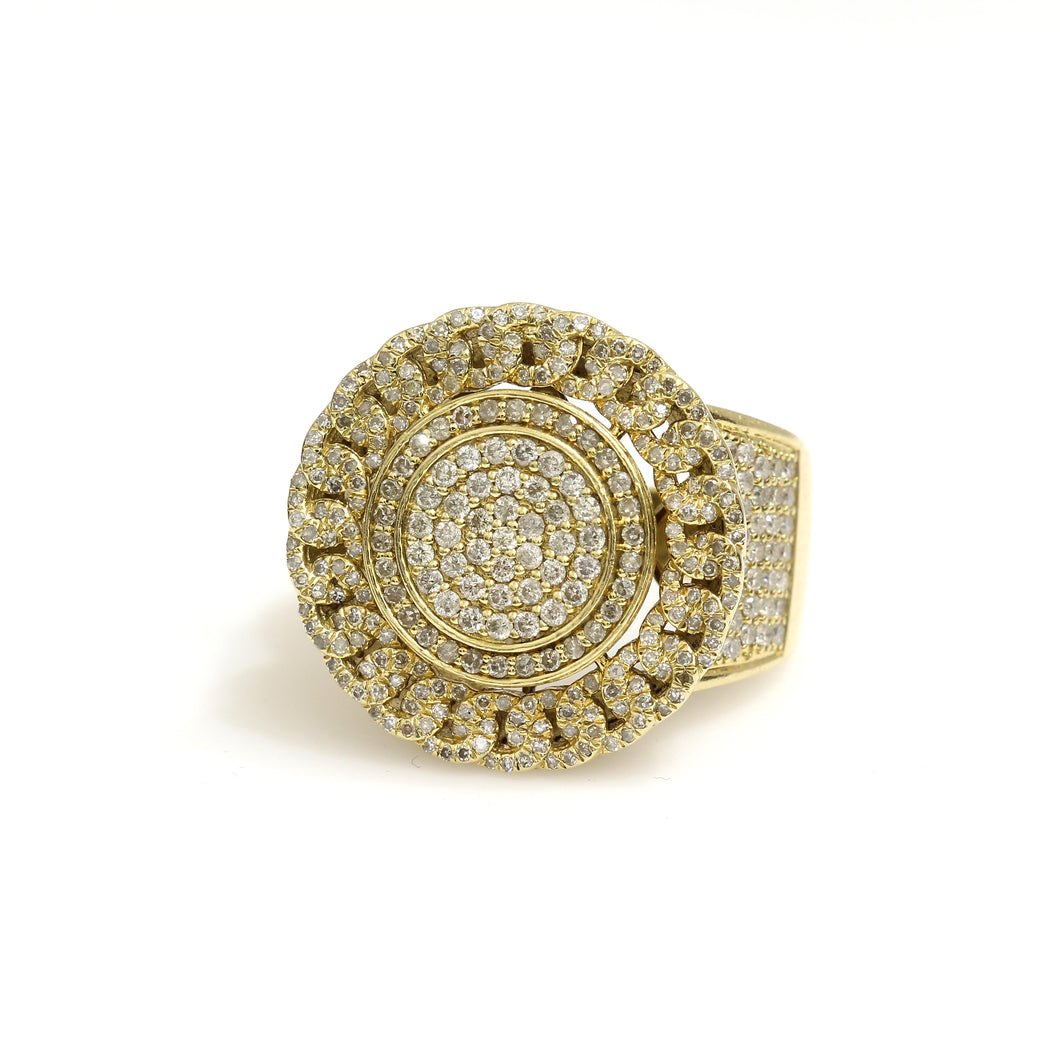 14K Yellow Gold Cuban Halo Pave Ring 2.68 Ctw