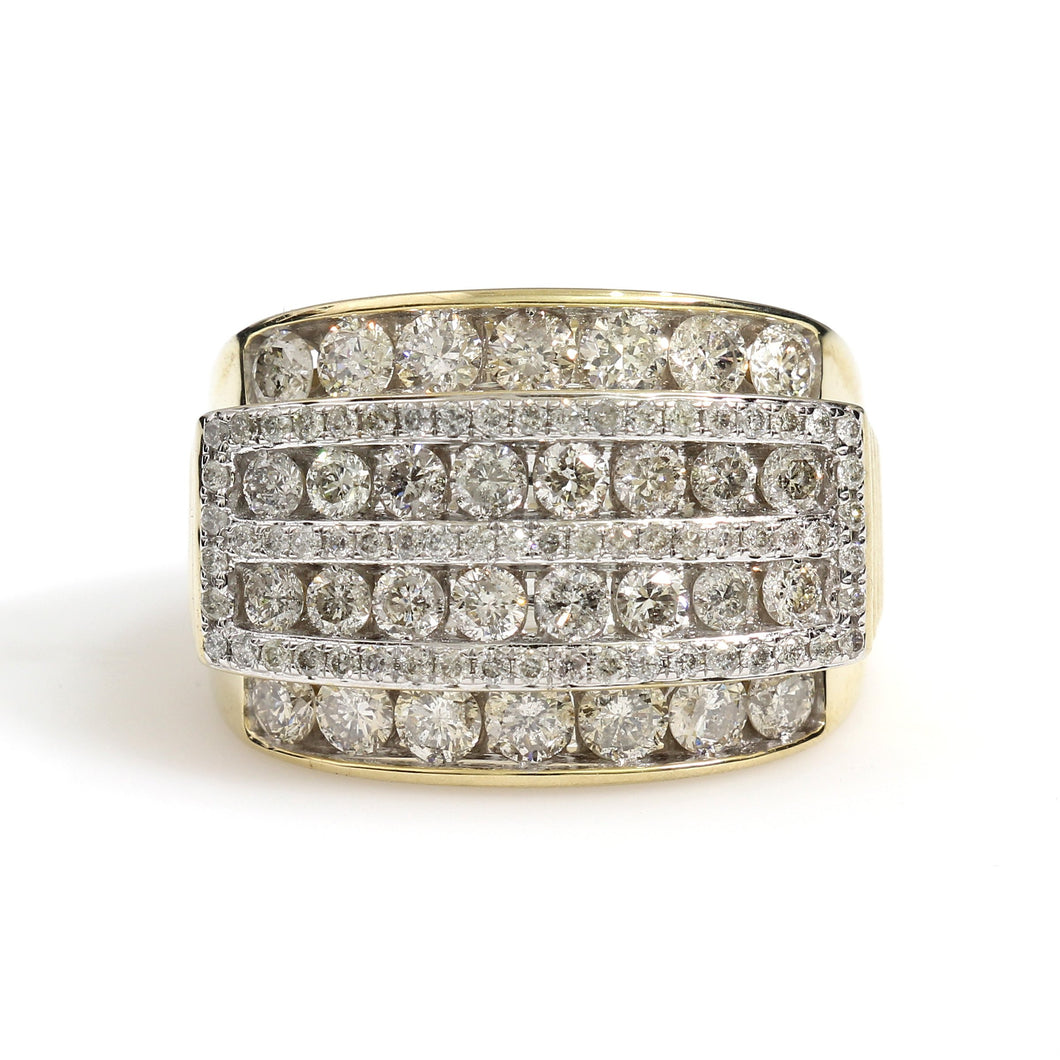 10K Yellow Gold Box Pave Ring 3 Ctw