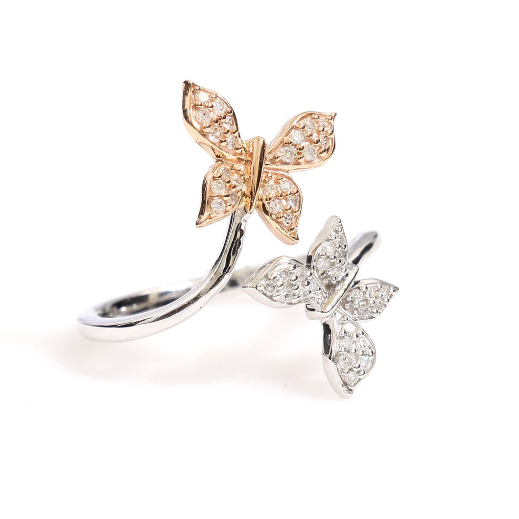 10K Two-Tone Gold Twin Butterfly Ring 0.2 Ctw - Queen City Jewelry & Pawn