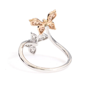 10K Two-Tone Gold Twin Butterfly Ring 0.2 Ctw