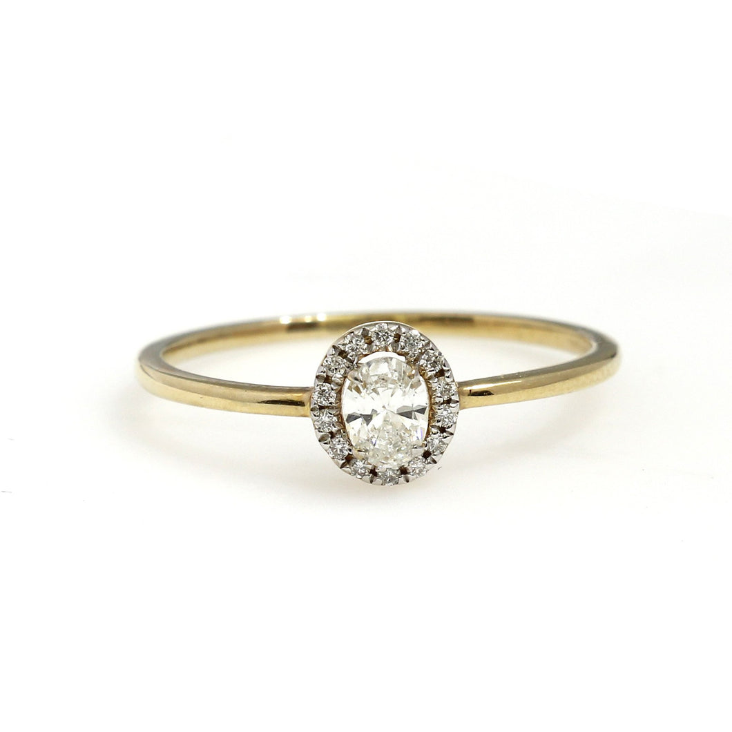 10K Yellow Gold Oval Halo Engagement Ring 0.33 Ctw