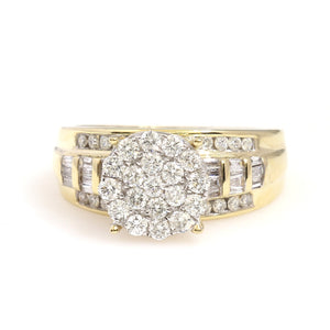 10K Yellow Gold Round Cluster Engagement Ring 1 Ctw