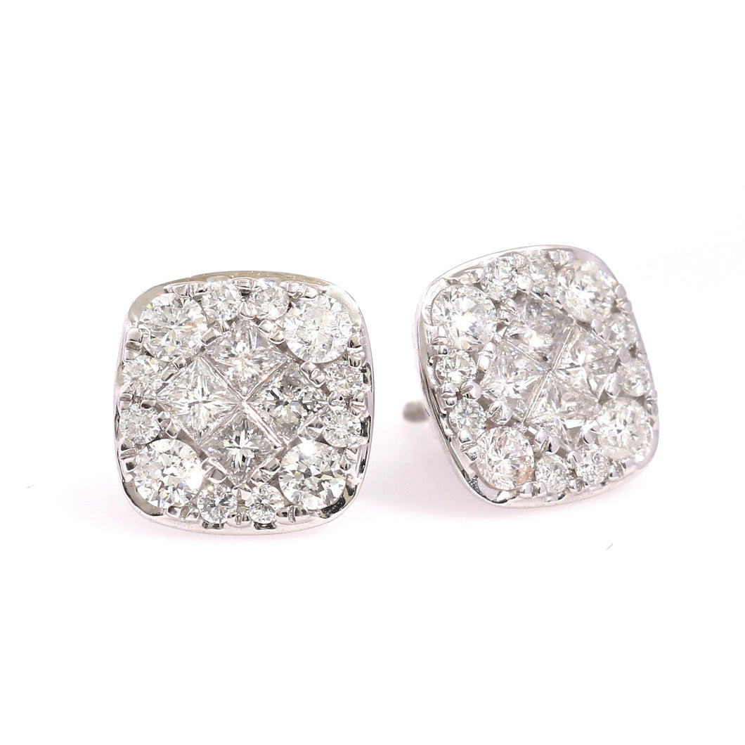 14K White Gold Round And Square Cluster Earrings 1.5 Ctw