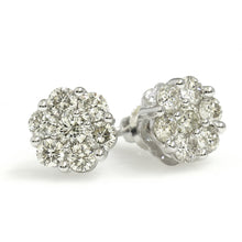Load image into Gallery viewer, 14K White Gold Flower Cluster Earrings 1 Ctw