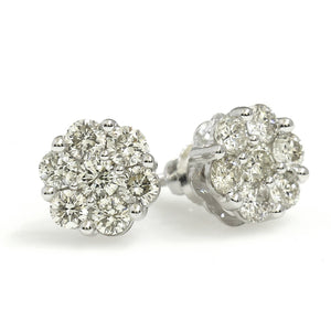 14K White Gold Flower Cluster Earrings 1 Ctw
