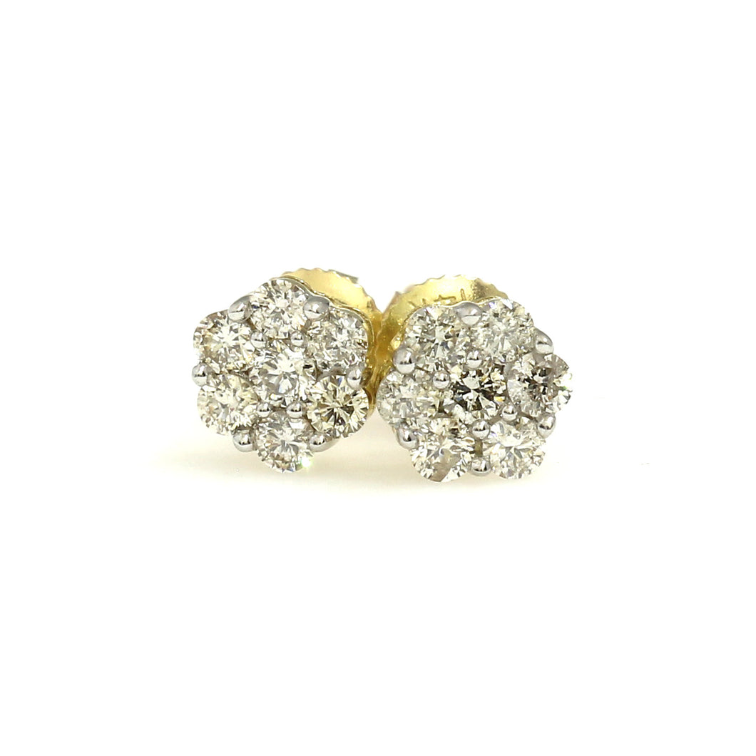 14K Yellow Gold Flower Cluster Earrings 0.33 Ctw