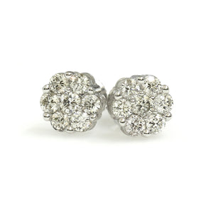 14K White Gold Flower Cluster Earrings 0.5 Ctw