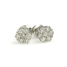 Load image into Gallery viewer, 14K White Gold Flower Cluster Earrings 0.25 Ctw