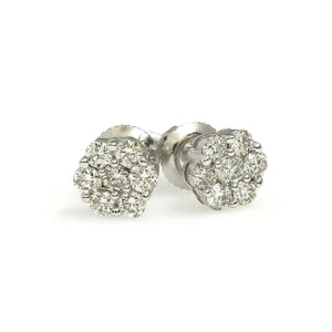 14K White Gold Flower Cluster Earrings 0.25 Ctw