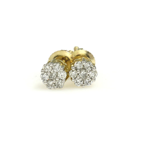 10K Yellow Gold Flower Cluster Earrings 0.15 Ctw