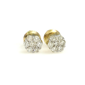 14K Yellow Gold Flower Cluster Earrings 0.25 Ctw