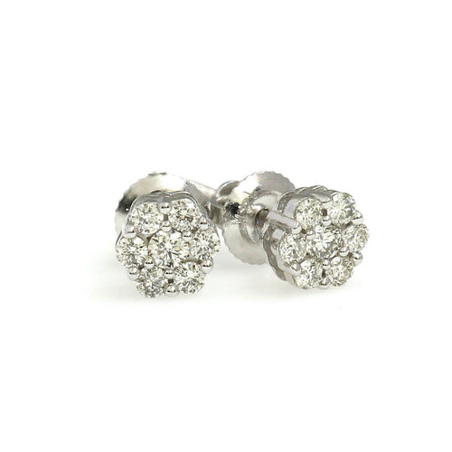 10K White Gold Flower Cluster Earrings 0.15 Ctw