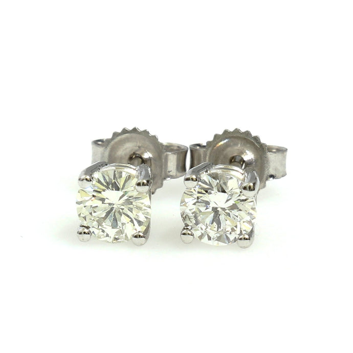 14K White Gold Solitaire Earrings 0.76 Ctw