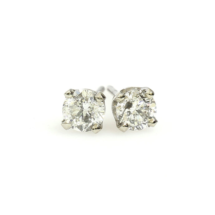 14K White Gold Solitaire Earrings 0.63 Ctw