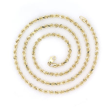 Load image into Gallery viewer, 10k Yellow Gold Diamond Cut Rope Chain 3.3mm 24""