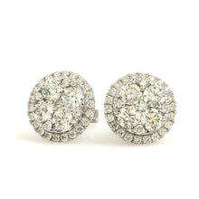 Load image into Gallery viewer, 14K White Gold Cluster Halo Earrings 1.81 Ctw