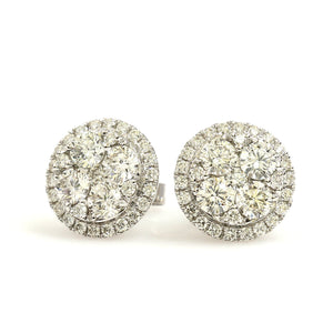 14K White Gold Cluster Halo Earrings 1.81 Ctw