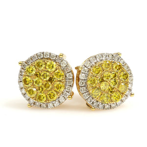 10K Yellow Gold Yellow Diamond Round Cluster Halo Earrings 1.5 Ctw