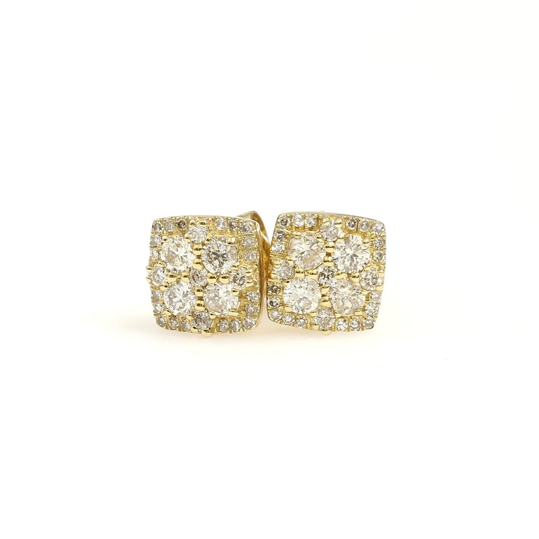10K Yellow Gold Square Pave Earrings 0.5 Ctw