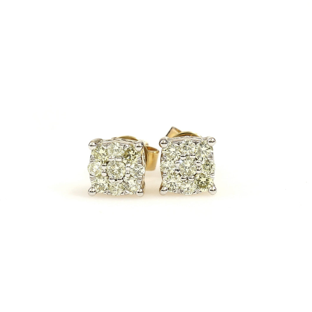10K Yellow Gold Square Cluster Halo Earrings 0.47 Ctw