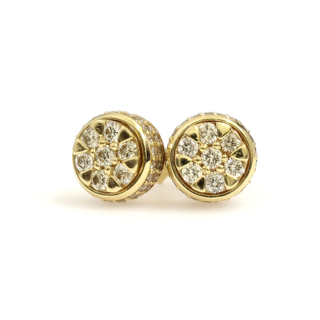 14K Yellow Gold Circle Cluster Earrings 1 Ctw